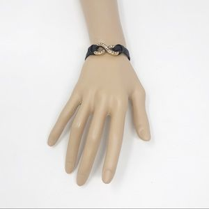 J. Crew Black Leather Infinity Bracelet NWT!